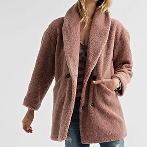 Lucky Brand teddy sherpa blush rose pink coat